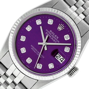 Rolex Purple Mens Datejust Ss/White Gold with Diamond Dial Watch