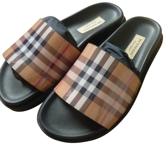 """Item - Yellow/Multi Check """"Ashmore"""" English Icons Rubber/Leather Slip-on Sandals Size US 6.5 Regular (M, B)"""