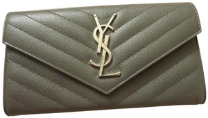 Saint Laurent Saint Laurent Monogram FLAP WALLET GRAIN DE POUDRE CHEVRON LEATHER