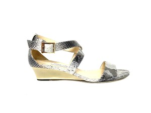 2961fe9fa0c5 Jimmy Choo Chiara Snakeprint Sandals Buckle Gray Wedges