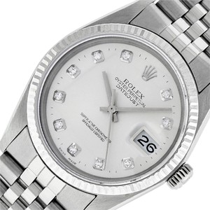 Rolex Silver Mens Datejust Ss/White Gold with Diamond Dial Watch