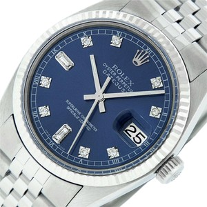 Rolex Blue Mens Datejust Ss/White Gold with Diamond Dial Watch