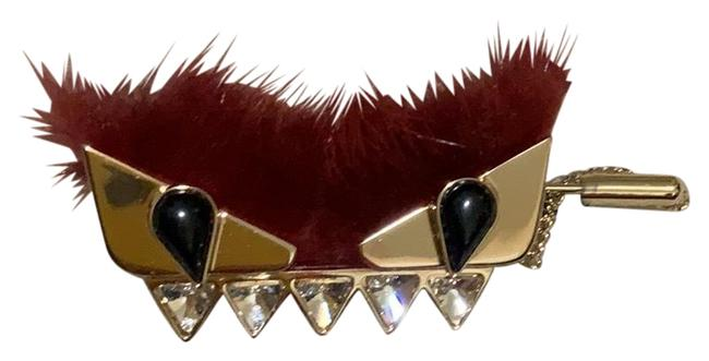 Item - Gold Plated Black Eyes Maroon Fur Buggy Pin Charm