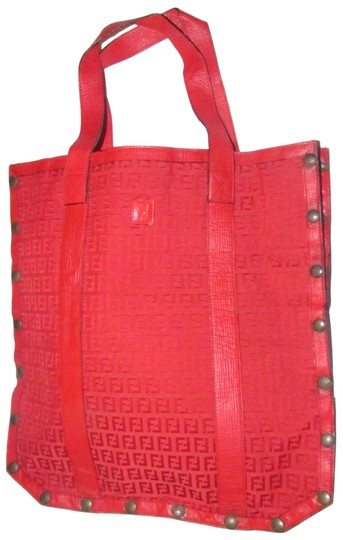 fd5cf7621a4b24 Fendi Mint Condition Early Canvas/Leather Rare Xl Tote in red Zucchino or  small F ...