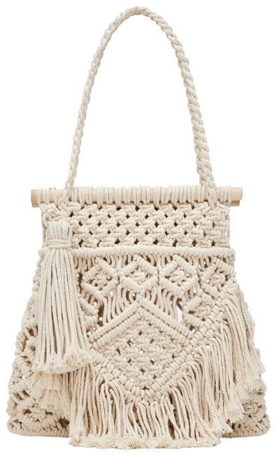Item - New Macrame Fabric Braided Handbag Ivory Cotton Tote