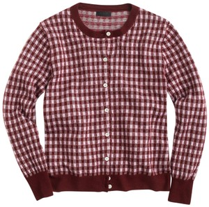 J.Crew Collection Cashmere Gingham Fitted 3/4 Sleeves Cardigan