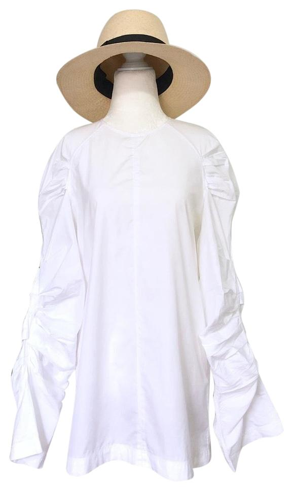 8c84379ca948a Céline White Ruched Pleated Sleeve Blouse Size 8 (M) - Tradesy