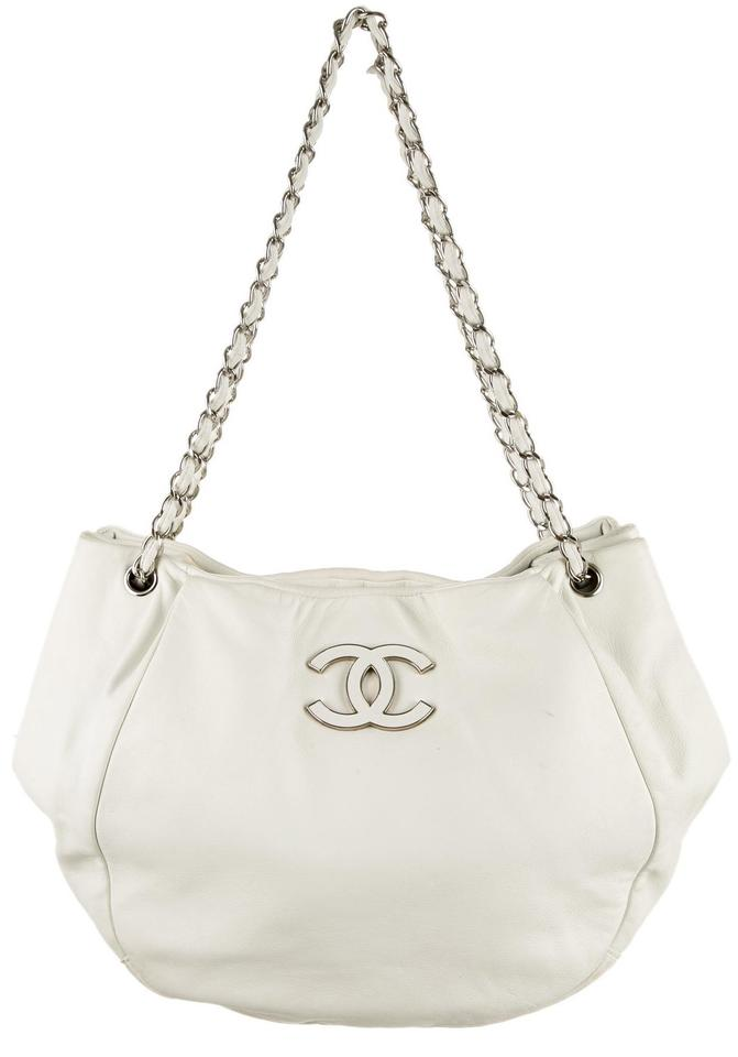 0604681a5991 Chanel Classic Flap Sensual Cc Ultra Soft Grand Shopping Gst Jumbo Cross  White Ivory Silver Lambskin Leather Tote