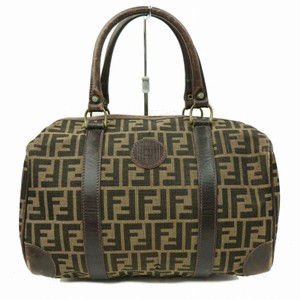 Fendi M-l Size Mint Vintage Early Sas Canvas/Lthr Satchel in tobacco Zucco or large F logo print canvas in shades of brown and brown leather
