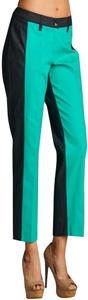 Larry Levine Baggy Style Thinner Body Look Cropped Ankle Colorblock Belt Loops Trouser Pants Dynasty Green
