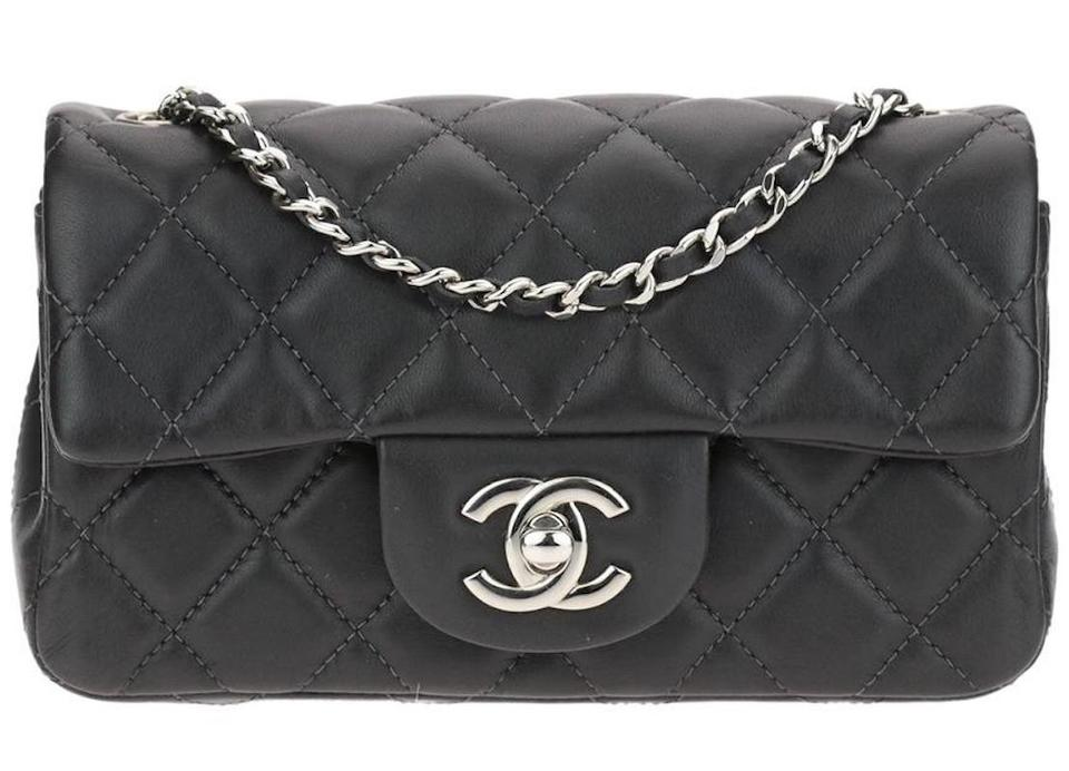 0d9cdc0377fc Chanel Classic Extra Micro Mini Flap Quilted Cc Logo Dark Charcoal Grey  Gray Black Lambskin Leather Cross Body Bag
