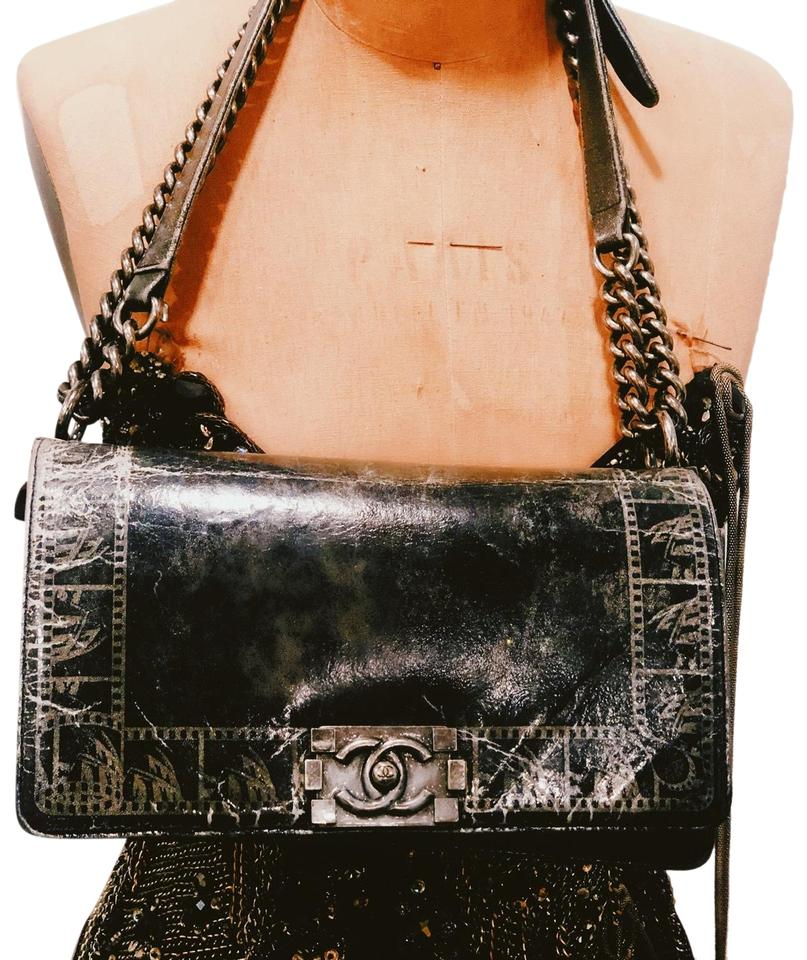 ca9d6e1a1d6735 Chanel Boy Limited Edition Rare Lamb Distressed Pewter Chrome Silver White  Iridescent Lambskin Leather Shoulder Bag