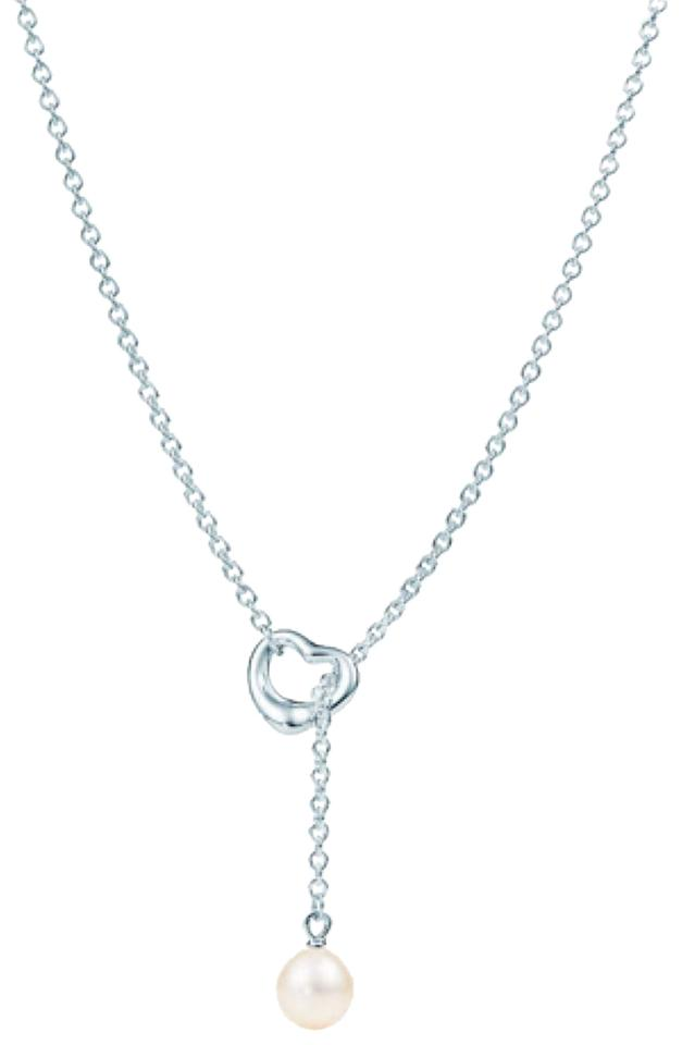 8a2b385f186ba Tiffany & Co. Silver Elsa Peretti Open Heart Freshwater Pearl Lariat  Necklace 63% off retail