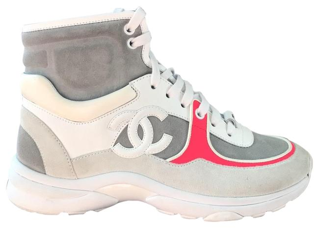 Item - Gray Neon Fluo High Top Trainers Flats Sneakers Size EU 37 (Approx. US 7) Regular (M, B)