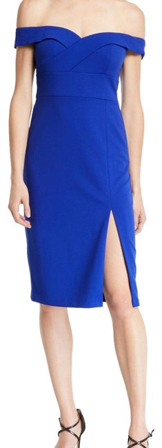 Aidan Mattox Royal Blue Off The Shoulder Fitted Mid-length Cocktail Dress Size 6 (S) Aidan Mattox Royal Blue Off The Shoulder Fitted Mid-length Cocktail Dress Size 6 (S) Image 1