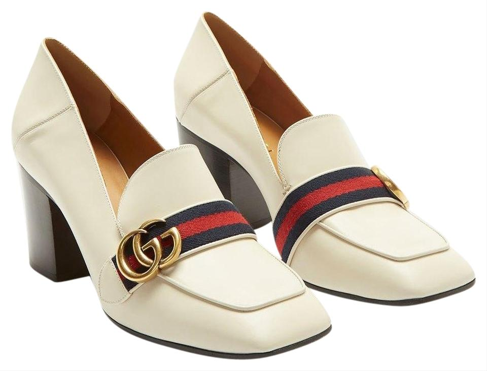 36ba64596bd92 Gucci Ivory Marmont Gg Leather Web Loafers - It Pumps Size EU 37 ...
