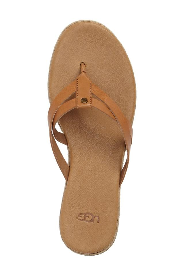 ad179ed0aa3 UGG Australia Leather Straps Jute Trim Cushion Footbed Rubber Sole Annice  Brown Sandals ...