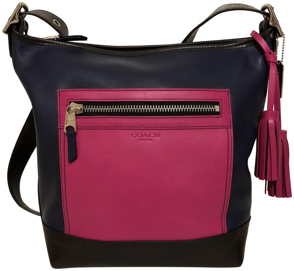 Coach Legacy Colorblock Duffel Shoulder 19995 Pink Navy Leather Cross Body  Bag 7023f112429e7