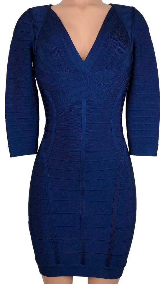 "62236aa2a2 Hervé Leger ""clasic Blu"" 3/4 Sleeve Short Cocktail Dress Size 2 (XS ..."