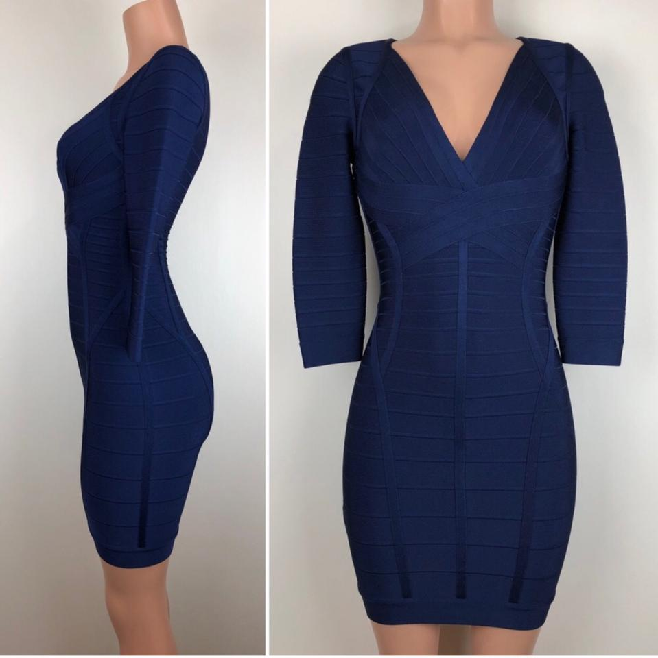 "e45fb50b97 Hervé Leger ""clasic Blu"" 3/4 Sleeve Short Cocktail Dress Size 2 (XS) -  Tradesy"