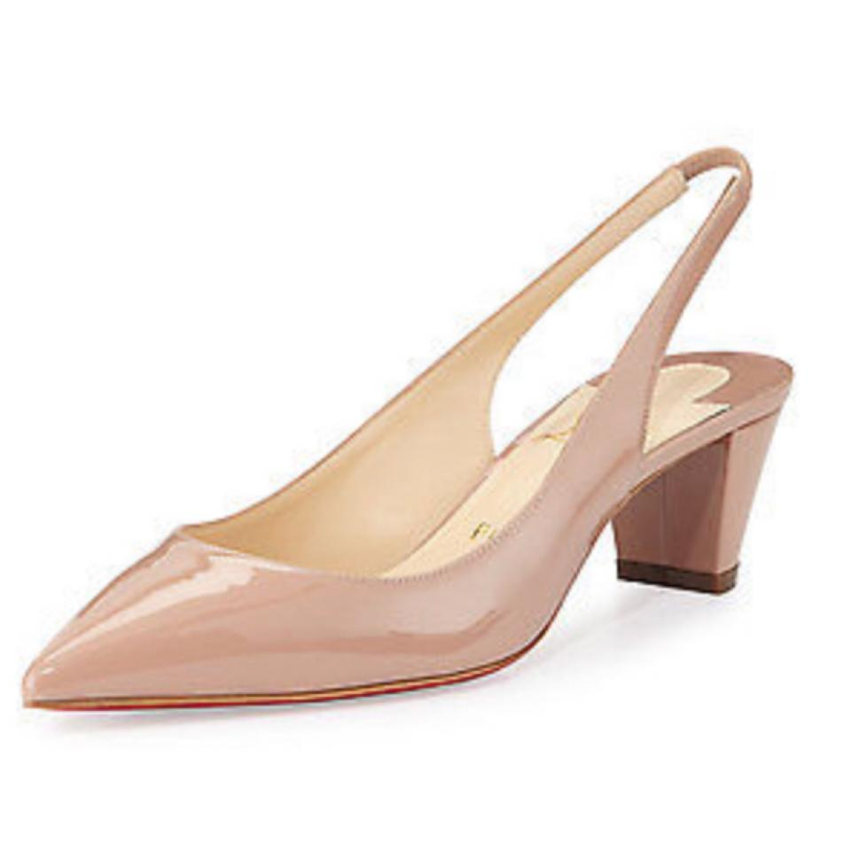 b7387962c7f Christian Louboutin Nude Karelli 45mm Patent Leather Slingback. Pumps