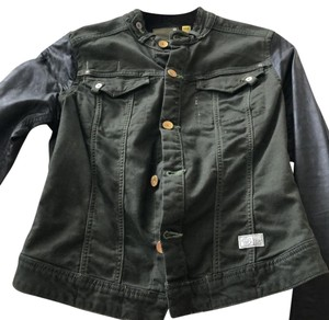 G-Star RAW military green with black leather sleeves Womens Jean Jacket