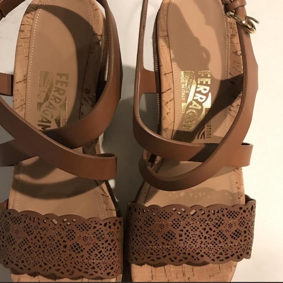 a913bd87db52 Salvatore Ferragamo Brown Tan Leather Nee Gioela Wedges Size US 8.5 ...