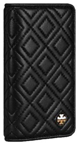 Tory Burch NEW TORY BURCH BLACK QUILTED FLEMING IPHONE LEATHER PHONE CASE CARD