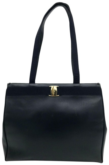 Item - Vera Vintage Classic Gold Navy Leather Tote