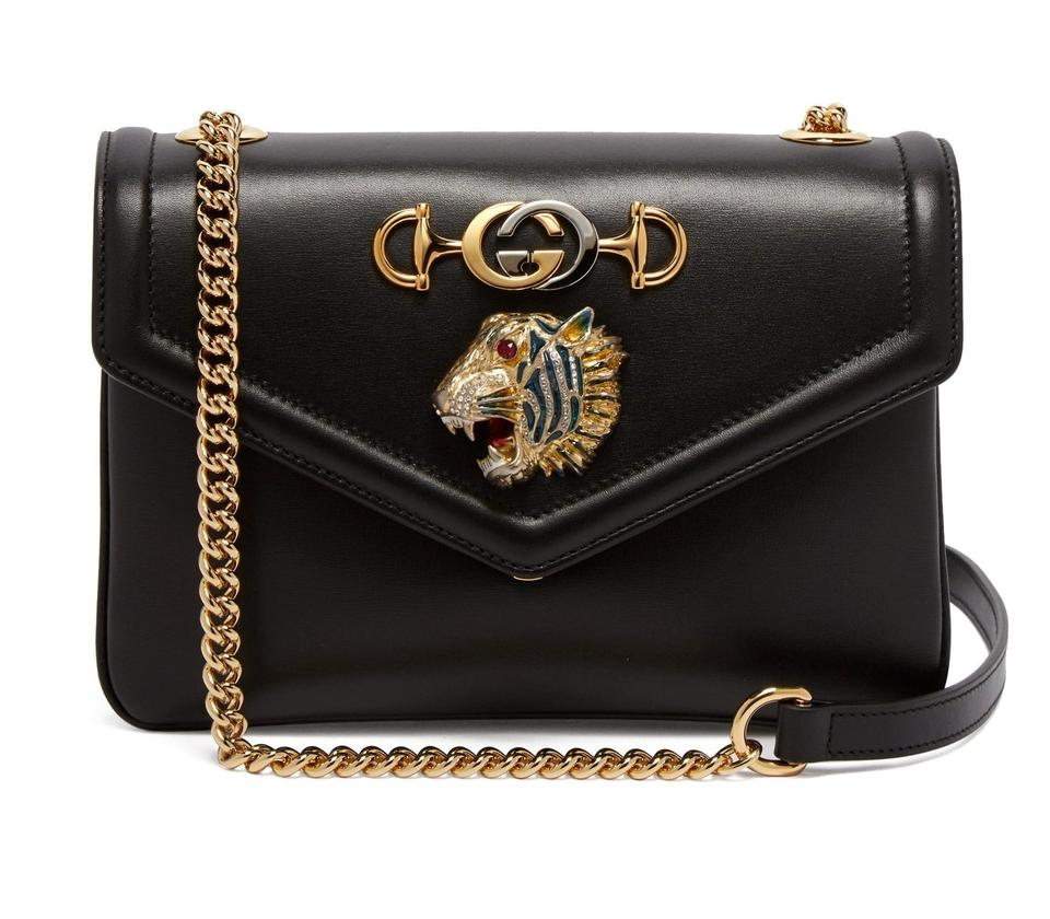 2b14330aafb Gucci New Rajah Small Black Leather Shoulder Bag - Tradesy