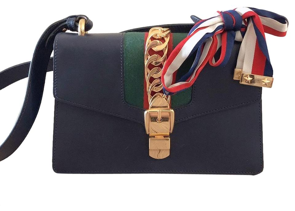 3844f551a13c0a Gucci Sylvie Small Navy Blue Leather Shoulder Bag - Tradesy