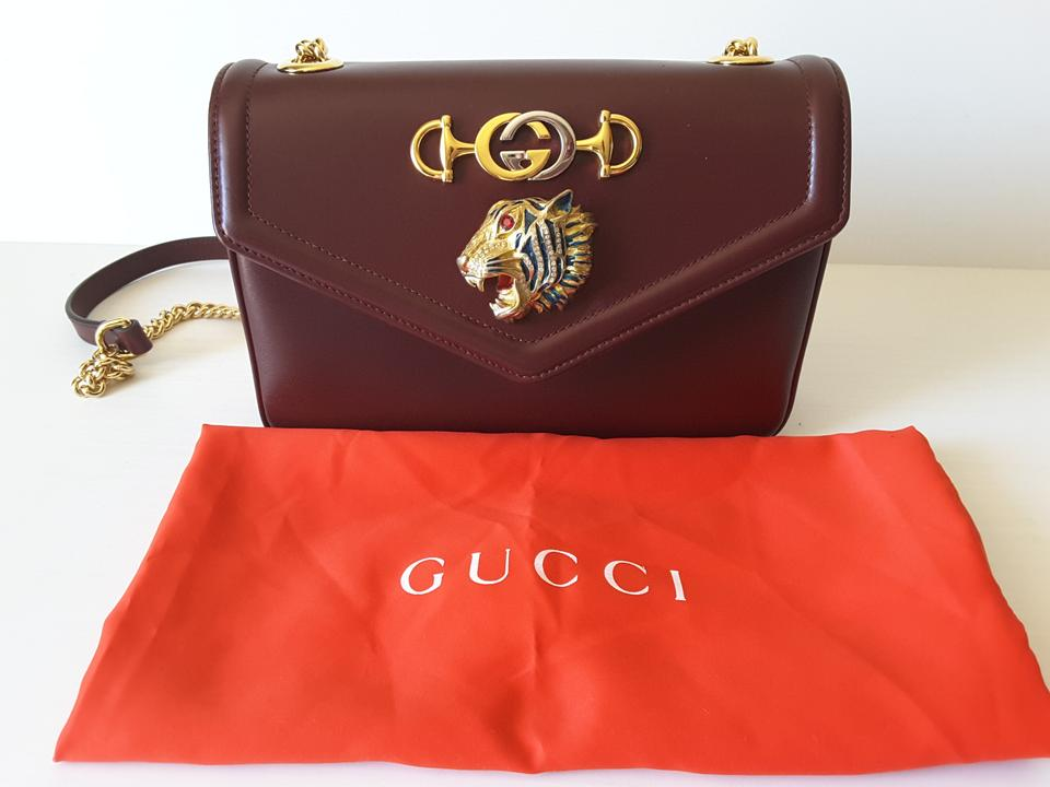 8b062ccac76059 Gucci New Rajah Small Burgundy Leather Shoulder Bag - Tradesy
