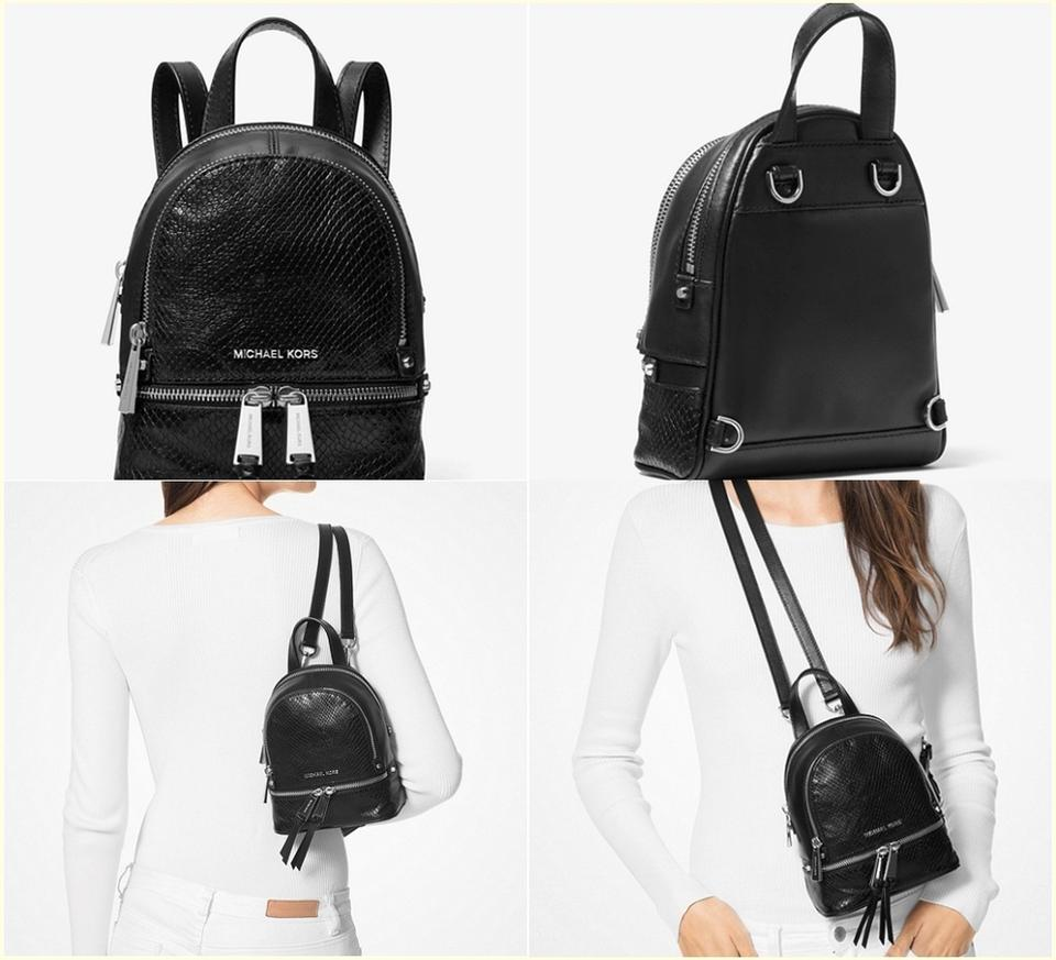804b6c920897c0 MICHAEL Michael Kors Rhea Mini Embossed Convertible Black Leather Backpack  - Tradesy