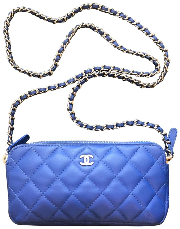 34963a1ac2f01d Chanel Wallet Clutch W Quilted Double Zip W/Chain Royal Blue Lambskin  Leather Cross Body Bag