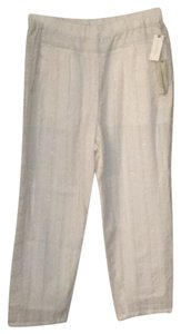 Anthropologie Relaxed Pants ivory with rose gold metallic stripe