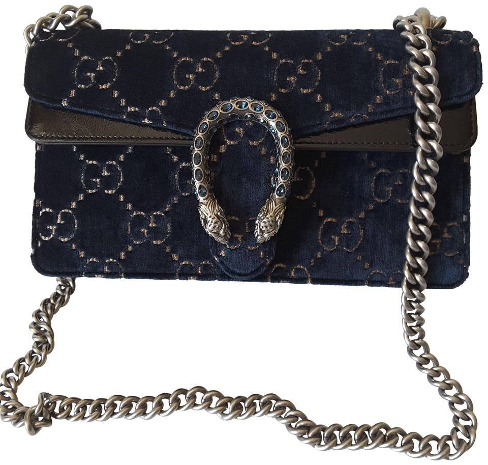 2a069c2acdafc Gucci Dionysus Gg with Swarovski Crystal Small Blue Velvet Shoulder ...