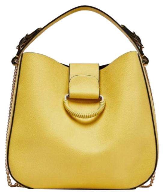 Item - Bucket Bag Medium with Hoop Yellow Faux Leather Tote