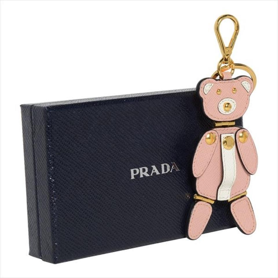 low cost 449a1 fabbd Prada Pink Leather Trick Pelle Saffiano Bear Key Chain 1tl177 15% off retail