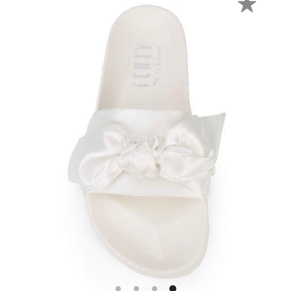 new product 5a0a8 a5cc0 FENTY PUMA by Rihanna White Bow Slide Sandals Size US 7.5 Regular (M, B)  44% off retail
