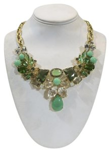J.Crew Bold statement necklace J Crew GOld tone shades of green
