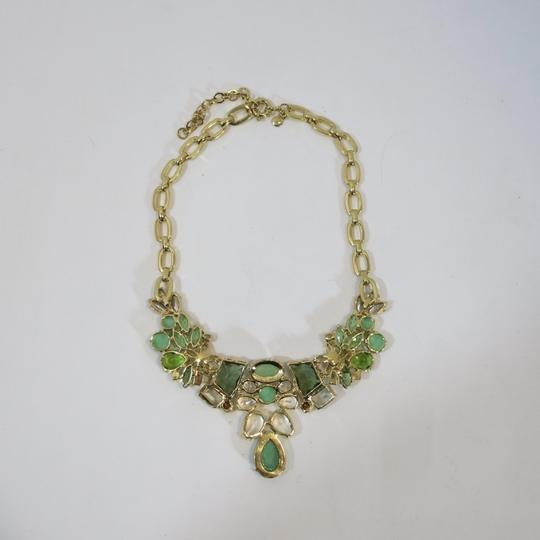 J.Crew Bold statement necklace J Crew GOld tone shades of green Image 1