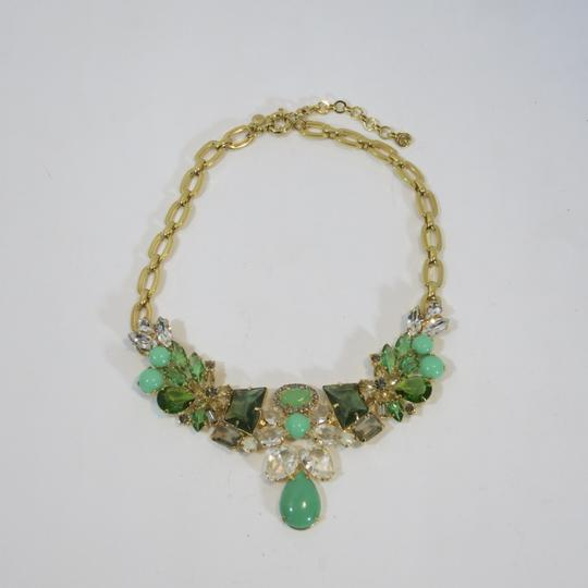 J.Crew Bold statement necklace J Crew GOld tone shades of green Image 3