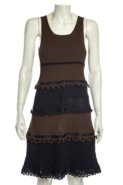 Item - Brown Knit Navy and 38 Mid-length Short Casual Dress Size 6 (S)