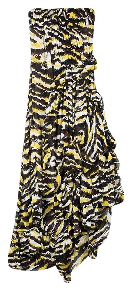bccb6cdae3d6 Missoni Multicolor Tiger Print Ruffled Silk Strapless Tansy Night Out Dress