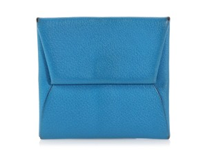 Hermès Blue Bleu Hydra Evercolor Leather Bastia Change Purse