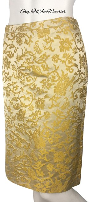 Item - Yellow/Gold/Champagne Silk Damask Pencil Skirt Size 6 (S, 28)