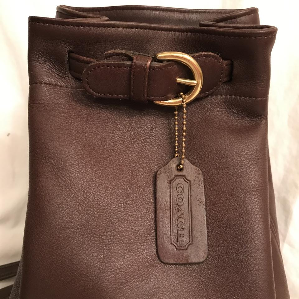 67a02b93a097 Coach Bucket Cornelia Sling Drawstring Vintage 4162 Brown Gold Leather  Backpack