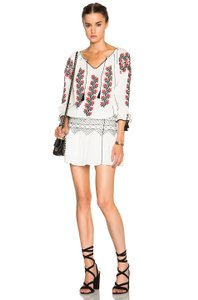 Ulla Johnson short dress White Embroidered Shirred Waist Boho on Tradesy
