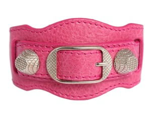 Balenciaga Pink Leather 2011 Giant 12 Silver Bracelet