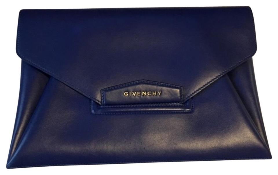9c7af81fa4 Givenchy Antigona Blue Leather Clutch - Tradesy